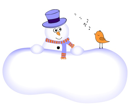 Funny snowman with singing bird Vector