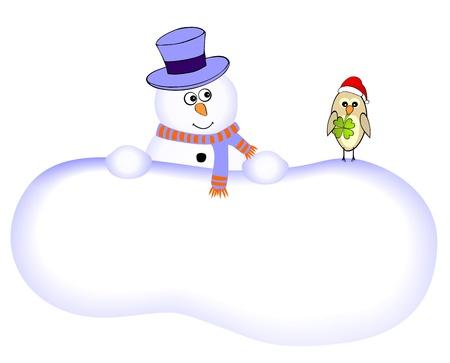 Funny snowman with lucky bird