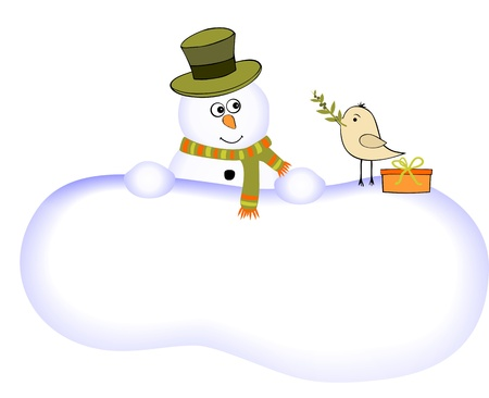 Funny snowman and one bird with olive branch Vector