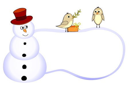 Funny snowman and two birds with olive branch Vector