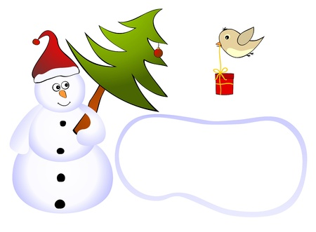 Snowman with tree and a bird with a gift Illustration