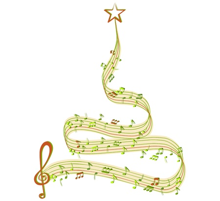 Winter tree of music Vector