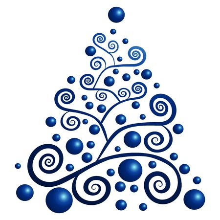 christmas blue: winter tree