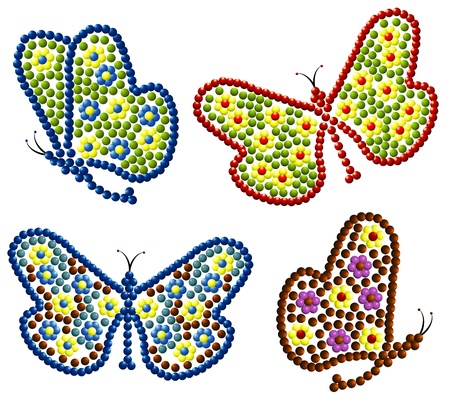 vector beads butterfly Illustration