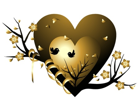 falling in love: gold valentine heart tree