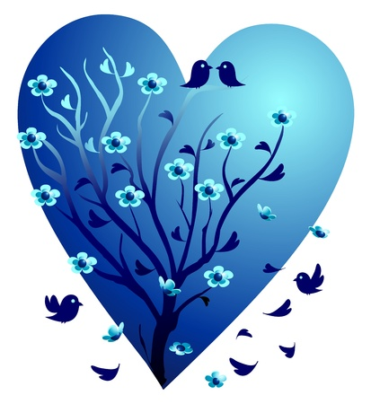 reflection of life: Valentine tree, love birds Illustration