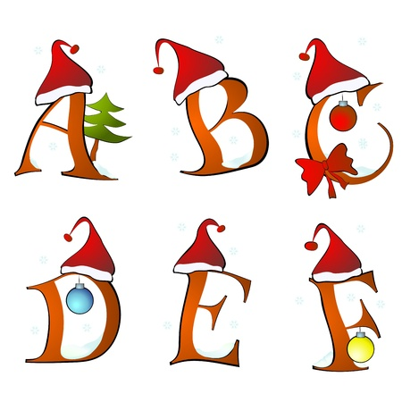 christmas alphabet set letters winter A -F Illustration