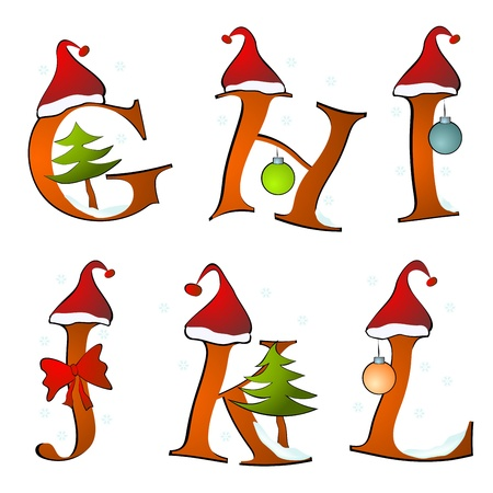 christmas alphabet set letters winter G -L Vector