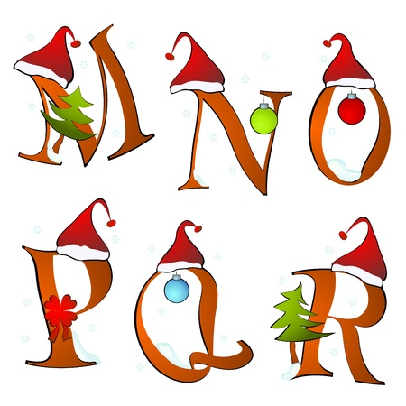letter q: christmas alphabet set letters winter M -R Illustration