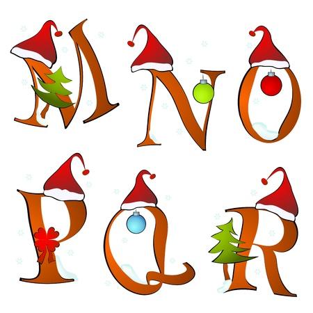 stationery border: christmas alphabet set letters winter M -R Illustration