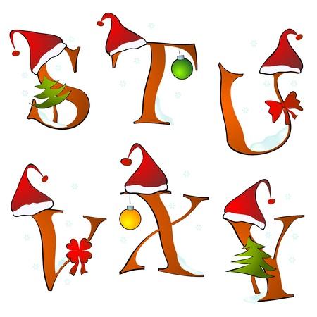 alphabet s: Alfabeto de Navidad cartas de juego de invierno, S-Y