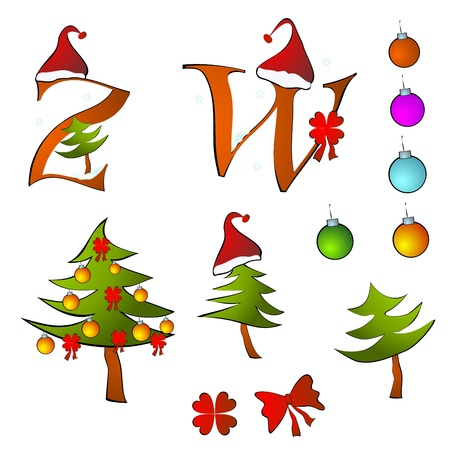 christmas alphabet set letters winter Z -W Vector
