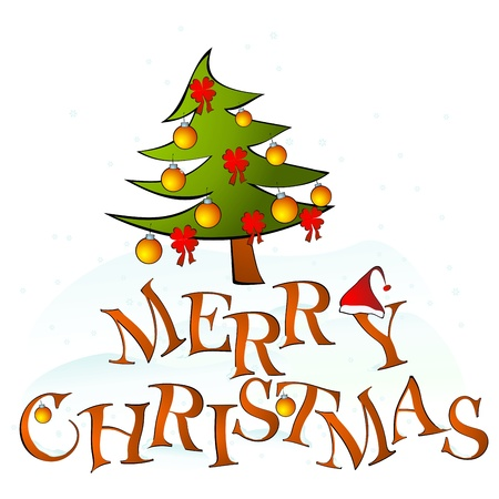 stationery border: card merry christmas with tree