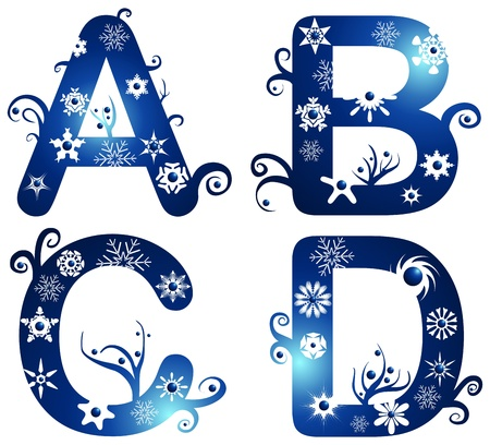 decorative letter: winter alphabet set letters A - D