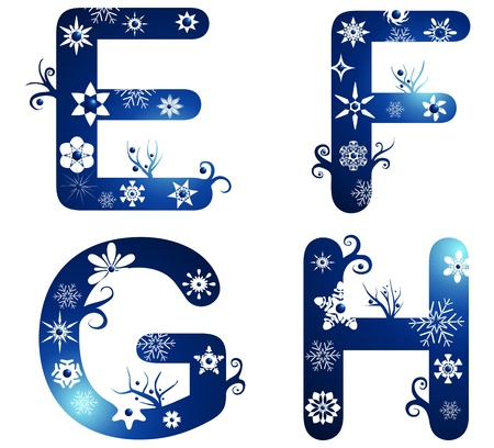 abstract letters: winter alphabet set letters E - H