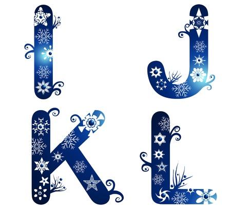 winter alphabet set letters I - L