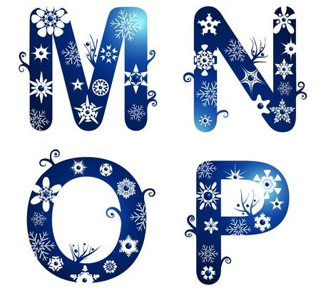 m: winter alphabet set letters M - N
