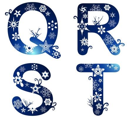letter q: winter alphabet set letters Q - T