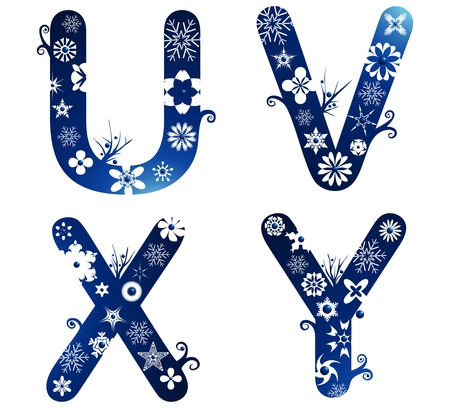 winter alphabet set letters U - Y Stock Vector - 11623194