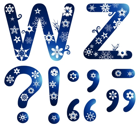 stationery border: winter alphabet set letters W - Z