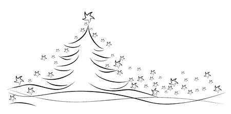 Black winter tree with stars Vector