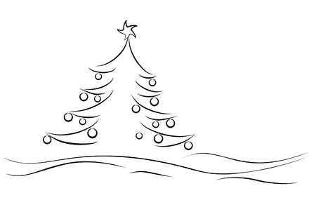 bomen zwart wit: Zwarte winter boom met ster en globes Stock Illustratie