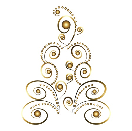 Gold christmas tree Stock Vector - 11623216