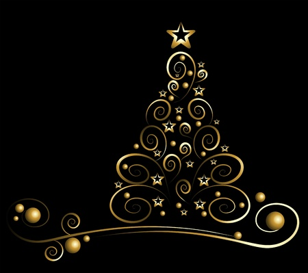 christmas template: Cartoncino nero con l'oro albero di Natale