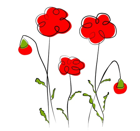 Flowers - red poppy Vector