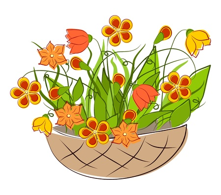 Flowers - spring basket arrangements Vector