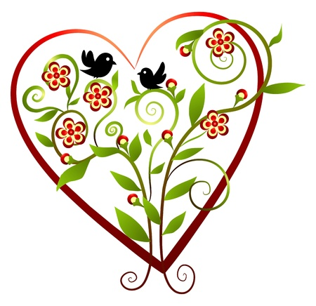 hart bloem: Bloemen - hart met twee vogels Stock Illustratie