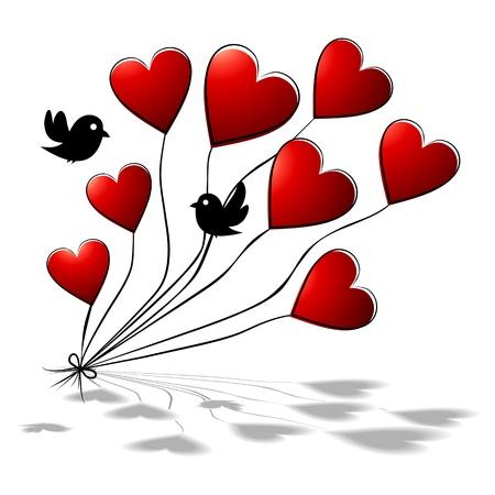 Flores-romántica de fondo floral con las aves y los corazones