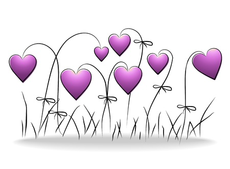 Flowers - romantic floral background with purple hearts Vector