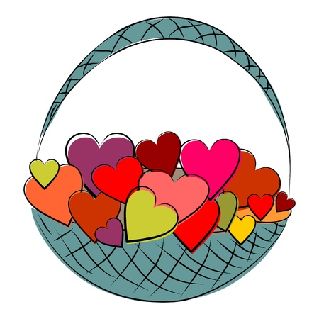 flower baskets: Basket with hearts Illustration
