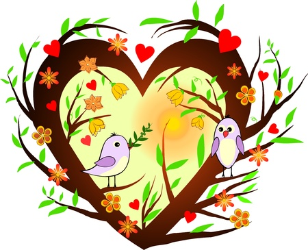 love birds: Heart with branches and birds with olive branch