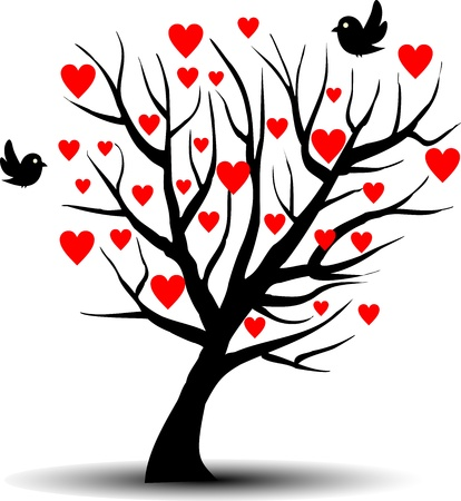 Love tree with two birds Stock Vector - 11939081