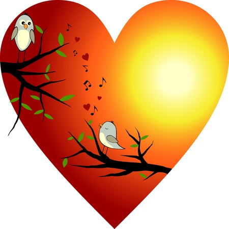 Red heart with two birds Vector