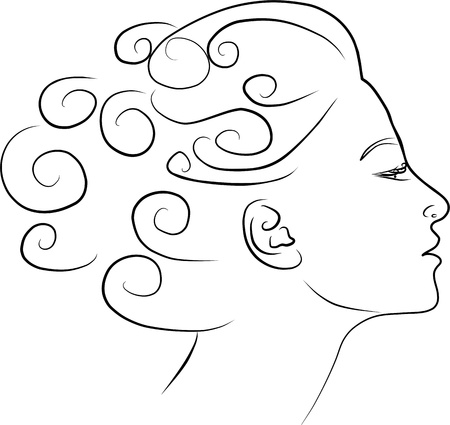young woman profile - freehand black and white photo