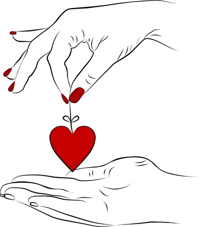 woman hand with a red heart Stock Photo - 12418417
