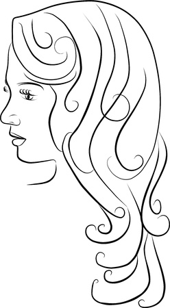 profile: young woman profile - freehand black and white Stock Photo