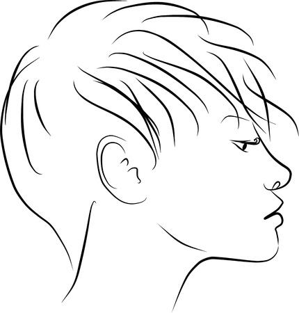 zwart wit tekening: jonge vrouw profiel