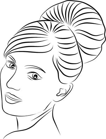 woman sketch: young woman profile