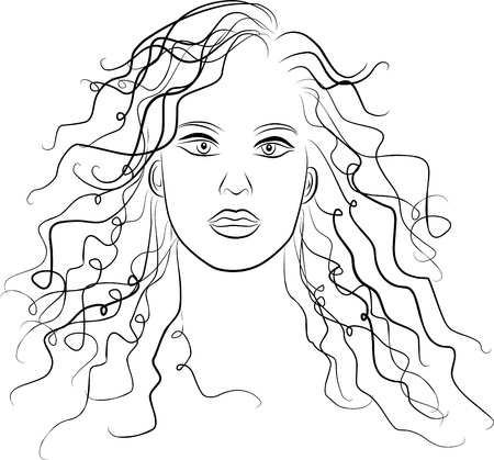 young woman face - freehand black and white photo