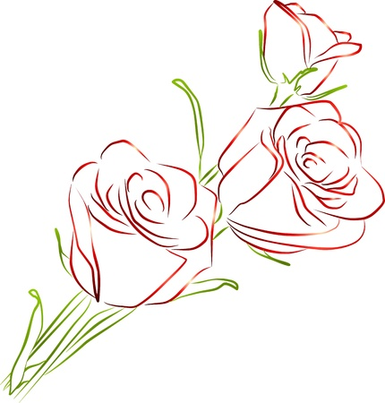 single sketch: three red roses on a white background