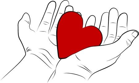 geloof hoop liefde: Open man handen met een rood hart - uit de vrije hand Stockfoto