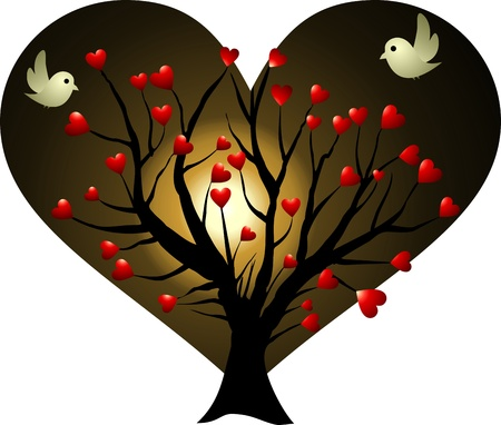 fall in love: love tree at moonlight Stock Photo