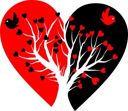 corazon roto: coraz�n roto con el �rbol blanco y dos p�jaros Foto de archivo