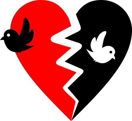 broken heart with two birds