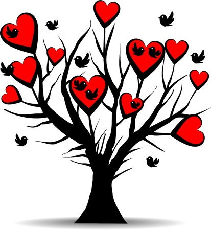 love tree with black birds and red hearts - valentines day Stock Photo - 12418483