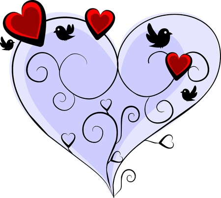 romantic blue heart with three red hearts and four birds photo